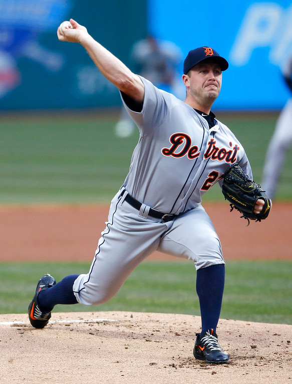 . Detroit Tigers starting pitcher Jordan Zimmermann delivers against the Cleveland Indians during the first inning in a baseball game Wednesday, April 11, 2018, in Cleveland. (AP Photo/Ron Schwane)