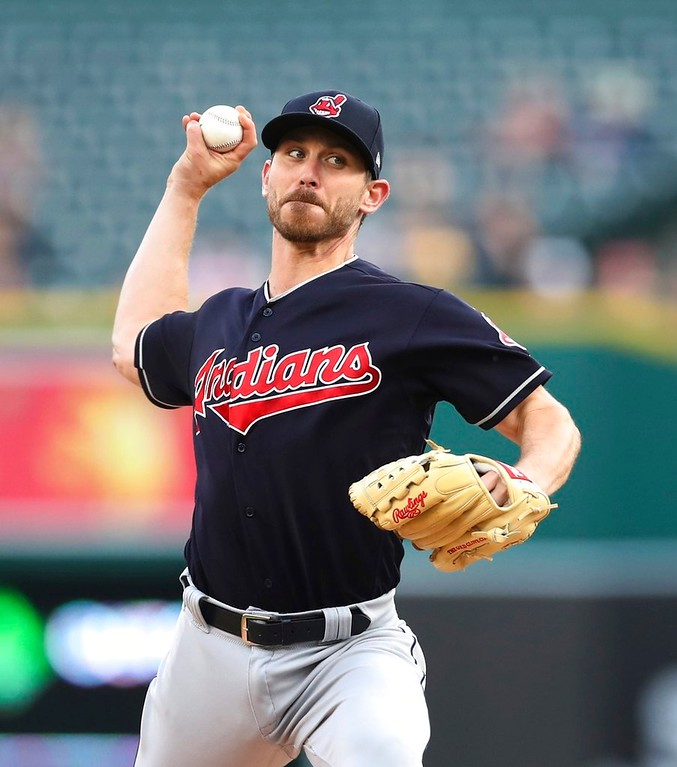 . Cleveland Indians starting pitcher Josh Tomlin throws during the first inning of a baseball game against the Detroit Tigers, Tuesday, May 15, 2018, in Detroit. (AP Photo/Carlos Osorio)