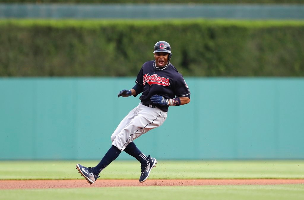 . Cleveland Indians\' Rajai Davis leads off second during the first inning of a baseball game against the Detroit Tigers, Tuesday, May 15, 2018, in Detroit. (AP Photo/Carlos Osorio)