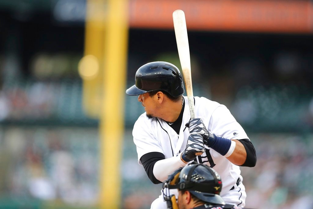 . Detroit Tigers designated hitter Victor Martinez bats during the first inning of a baseball game against the Cleveland Indians, Tuesday, May 15, 2018, in Detroit. (AP Photo/Carlos Osorio)
