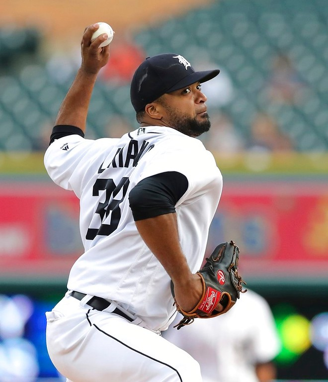 . Detroit Tigers starting pitcher Francisco Liriano throws during the first inning of a baseball game against the Cleveland Indians, Tuesday, May 15, 2018, in Detroit. (AP Photo/Carlos Osorio)