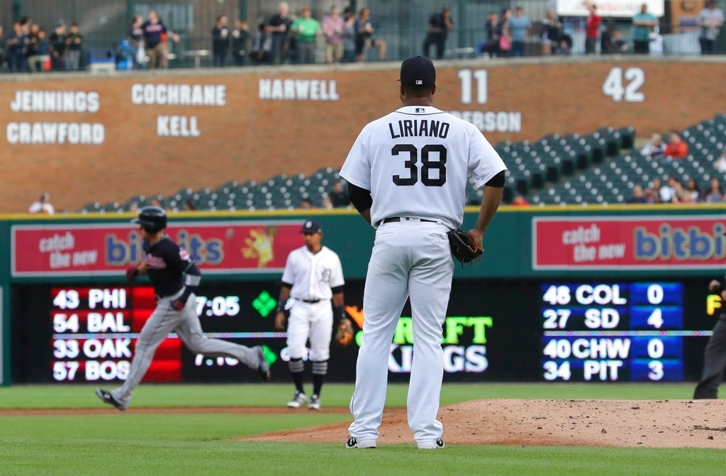 . Detroit Tigers starting pitcher Francisco Liriano watches as Cleveland Indians\' Brandon Guyer rounds the bases on a grand slam during the first inning of a baseball game, Tuesday, May 15, 2018, in Detroit. (AP Photo/Carlos Osorio)