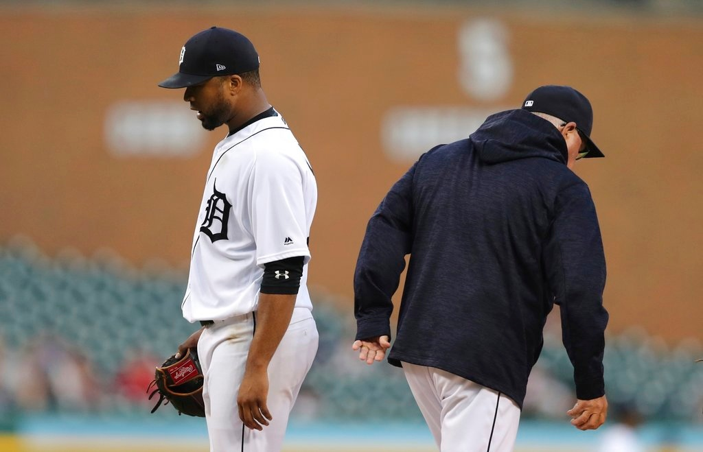 . Detroit Tigers starting pitcher Francisco Liriano is relieved during the sixth inning of a baseball game against the Cleveland Indians, Tuesday, May 15, 2018, in Detroit. (AP Photo/Carlos Osorio)