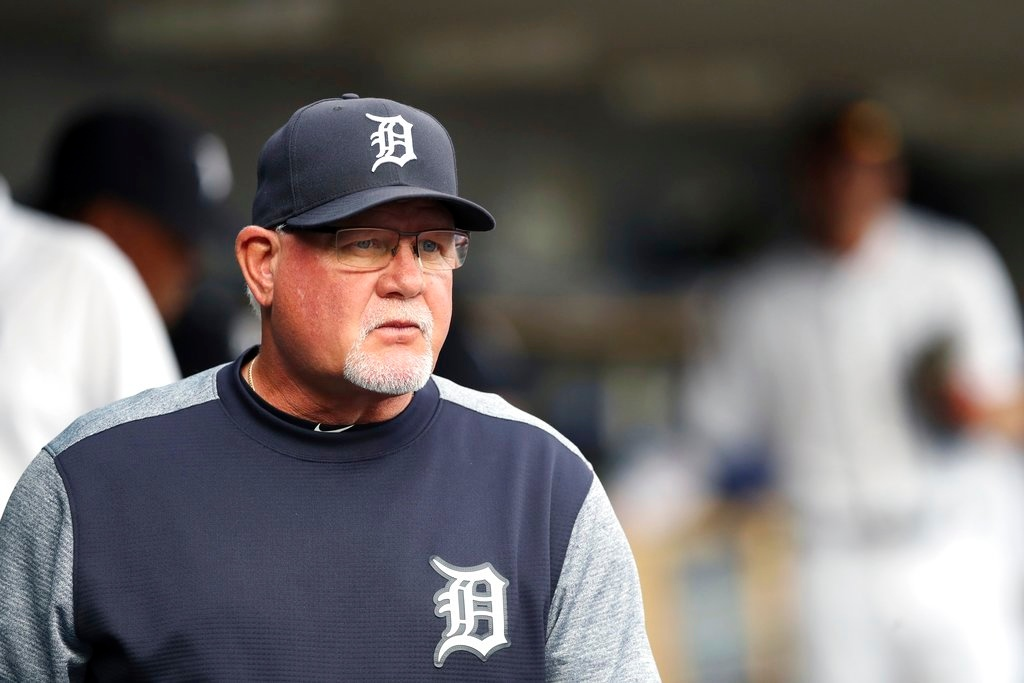 . Detroit Tigers manager Ron Gardenhire is seen in the dugout during the first inning of a baseball game against the Cleveland Indians, Tuesday, May 15, 2018, in Detroit. (AP Photo/Carlos Osorio)