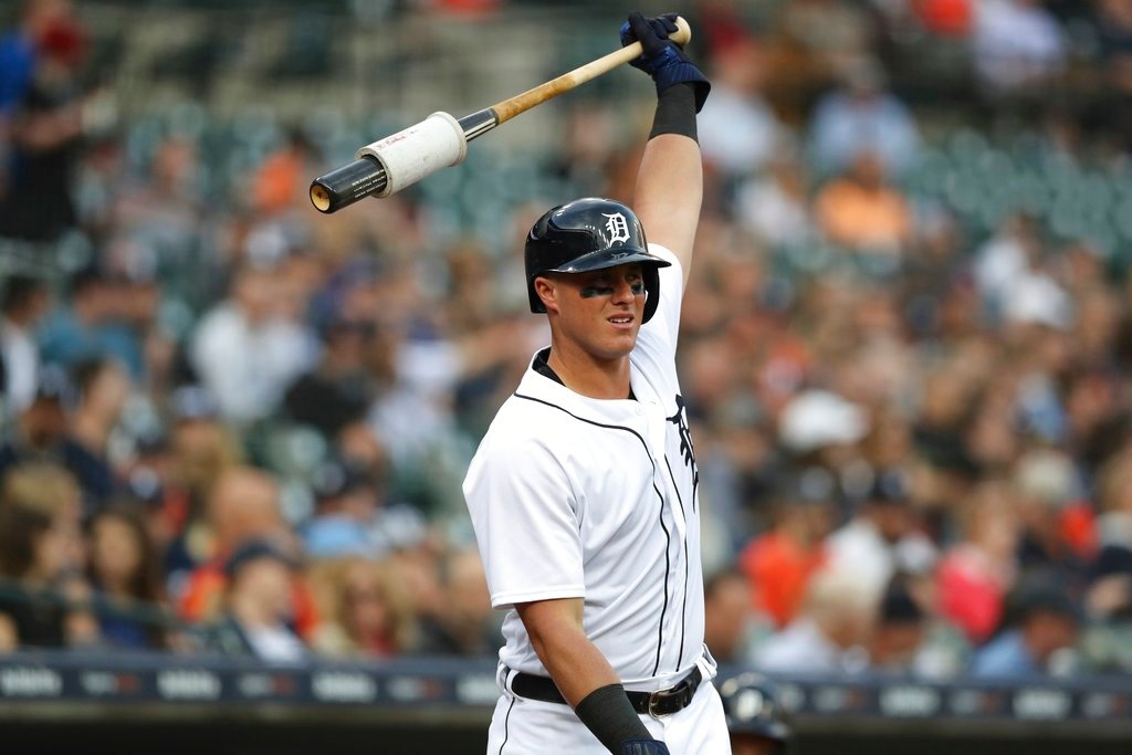 . Detroit Tigers\' James McCann waits to bat during the third inning of a baseball game against the Cleveland Indians, Tuesday, May 15, 2018, in Detroit. (AP Photo/Carlos Osorio)