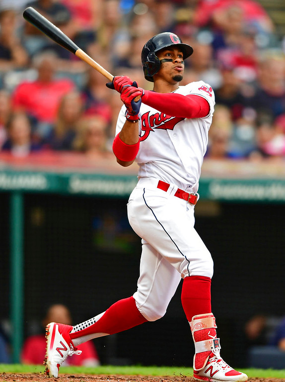 . Cleveland Indians\' Francisco Lindor watches his solo home run off Detroit Tigers relief pitcher Alex Wilson during the fifth inning of a baseball game Saturday, June 23, 2018, in Cleveland. (AP Photo/David Dermer)