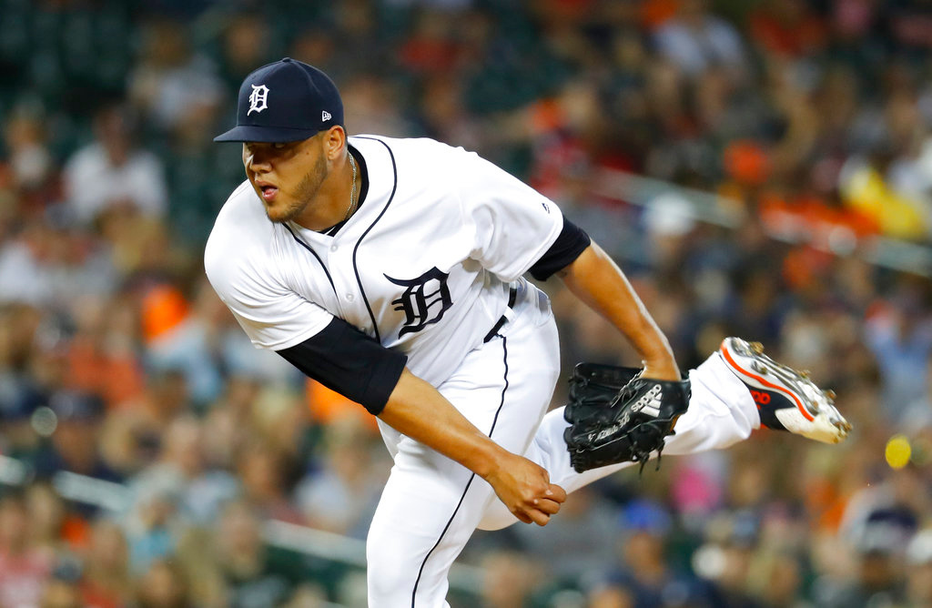. Detroit Tigers relief pitcher Joe Jimenez throws in the eighth inning of a baseball game against the Cleveland Indians in Detroit, Friday, June 8, 2018. (AP Photo/Paul Sancya)