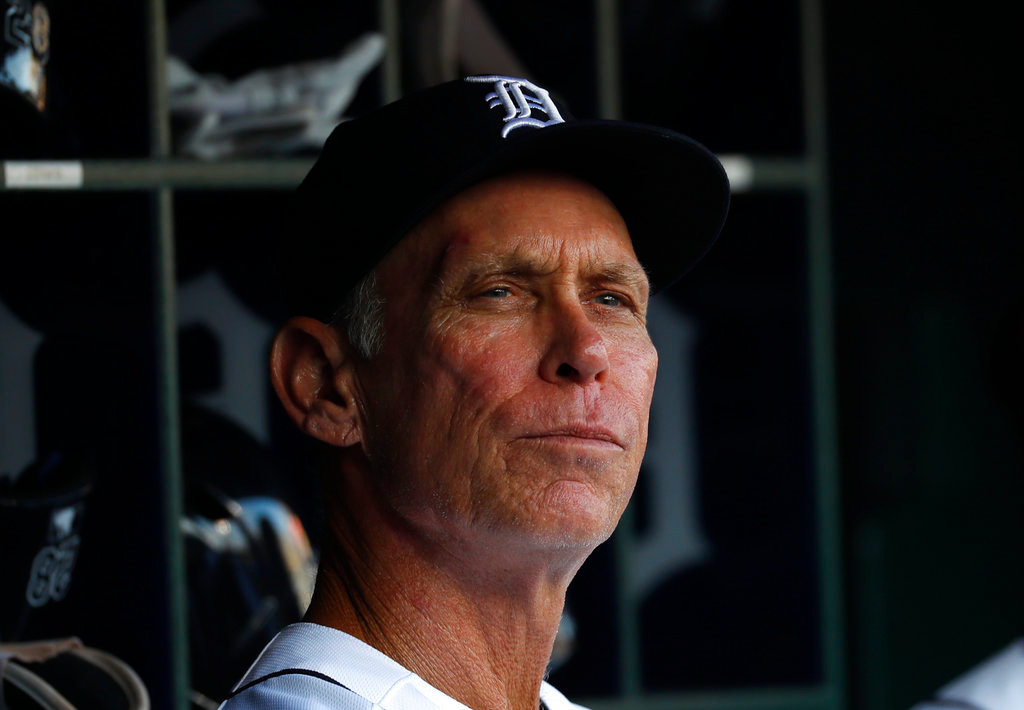 . Detroit Tigers\' Alan Trammell watches in the first inning of a baseball game against the Cleveland Indians in Detroit, Friday, June 8, 2018. (AP Photo/Paul Sancya)