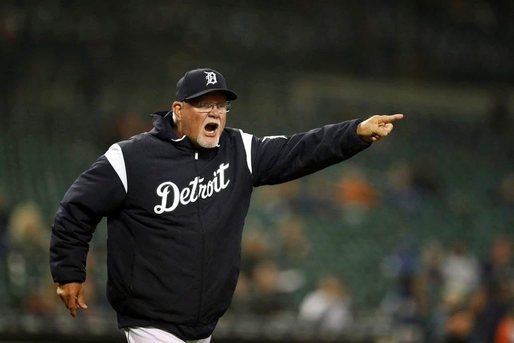 . Detroit Tigers manager Ron Gardenhire argues with home plate umpire Carlos Torres after being ejected during the fifth inning of game two of a baseball doubleheader against the Seattle Mariners, Saturday, May 12, 2018, in Detroit. (AP Photo/Carlos Osorio)
