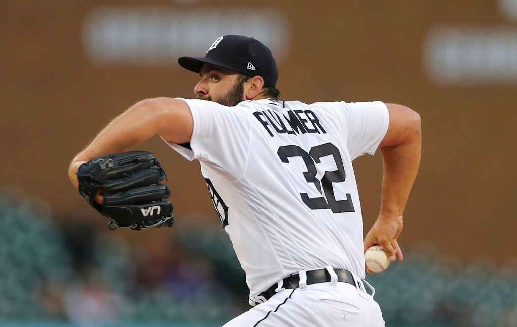 . Detroit Tigers starting pitcher Michael Fulmer throws during the first inning of game two of a baseball doubleheader against the Seattle Mariners, Saturday, May 12, 2018, in Detroit. (AP Photo/Carlos Osorio)