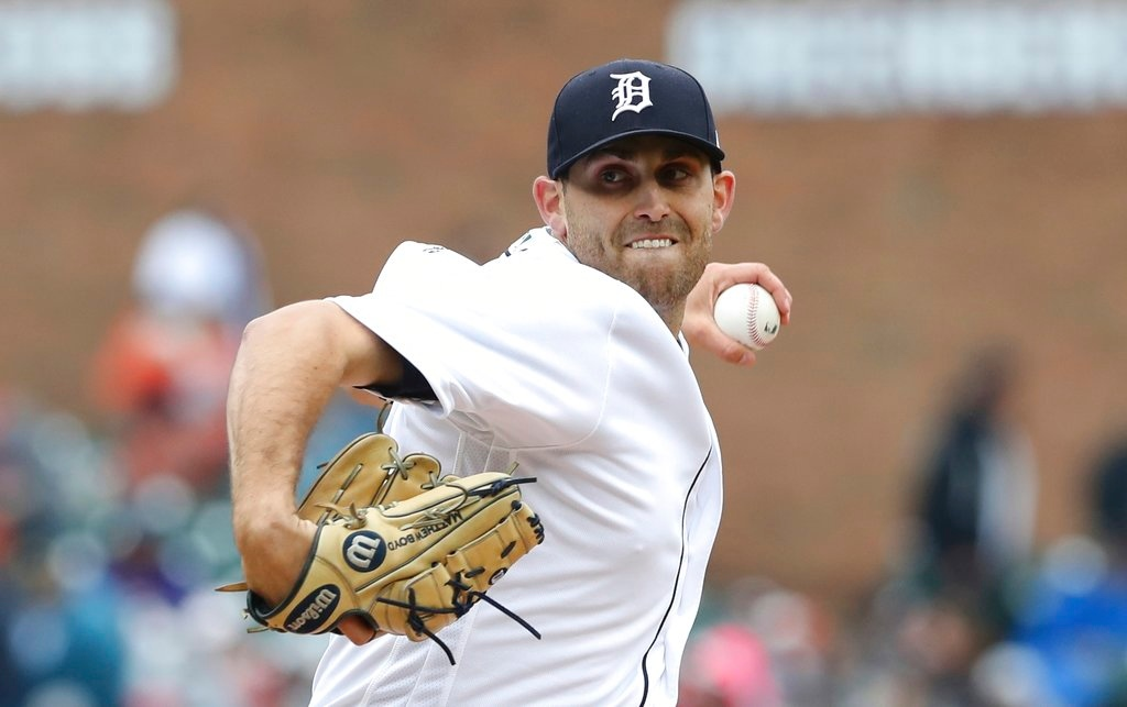 . Detroit Tigers starting pitcher Matthew Boyd throws during the first inning of game one of a baseball doubleheader against the Seattle Mariners, Saturday, May 12, 2018, in Detroit. (AP Photo/Carlos Osorio)