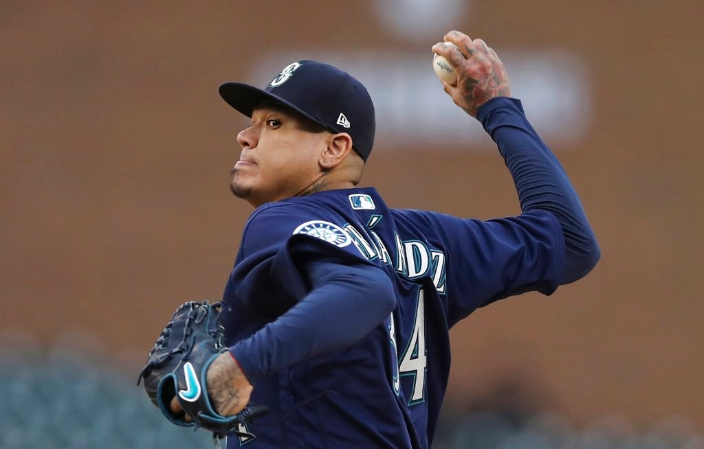 . Seattle Mariners starting pitcher Felix Hernandez throws during the first inning of game two of a baseball doubleheader against the Detroit Tigers, Saturday, May 12, 2018, in Detroit. (AP Photo/Carlos Osorio)