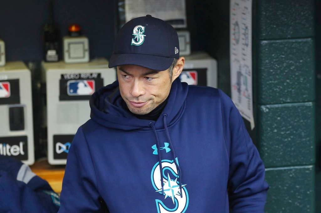 . Seattle Mariners acting bench coach Ichiro Suzuki is seen during the first inning of game two of a baseball doubleheader against the Detroit Tigers, Saturday, May 12, 2018, in Detroit. (AP Photo/Carlos Osorio)