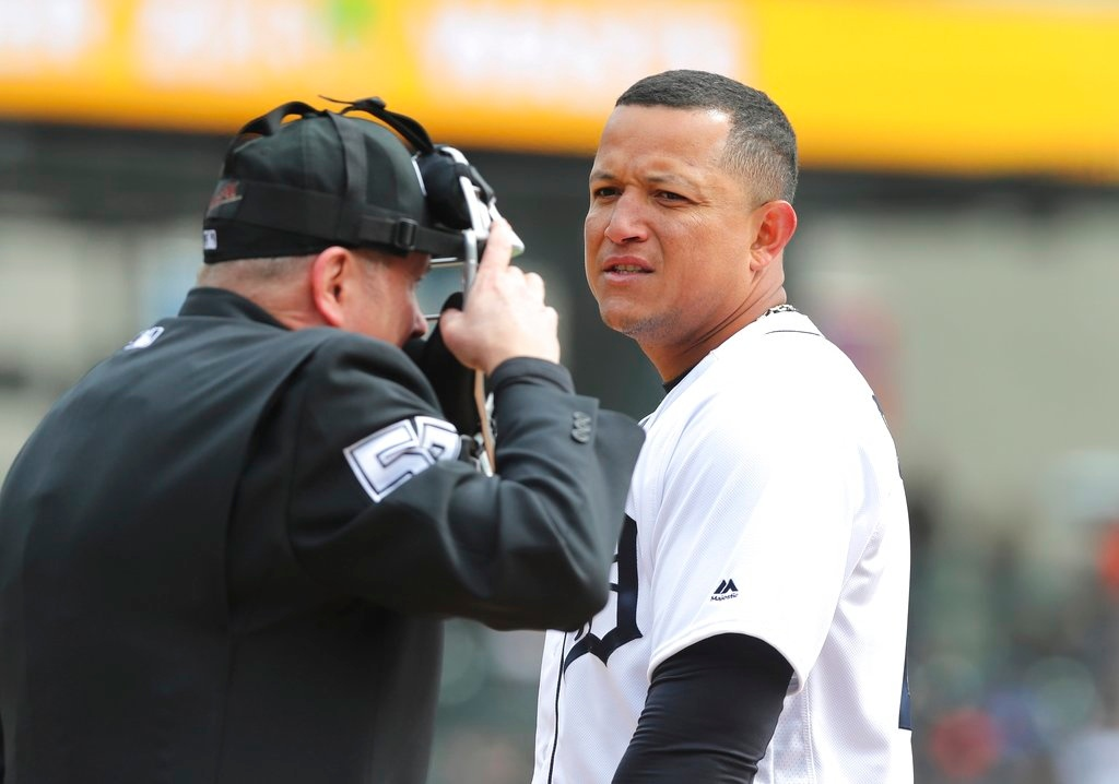 . Detroit Tigers first baseman Miguel Cabrera looks towards umpire Mike Everitt after getting called out to end the second inning of a baseball game against the Pittsburgh Pirates, Friday, March 30, 2018, in Detroit. (AP Photo/Carlos Osorio)