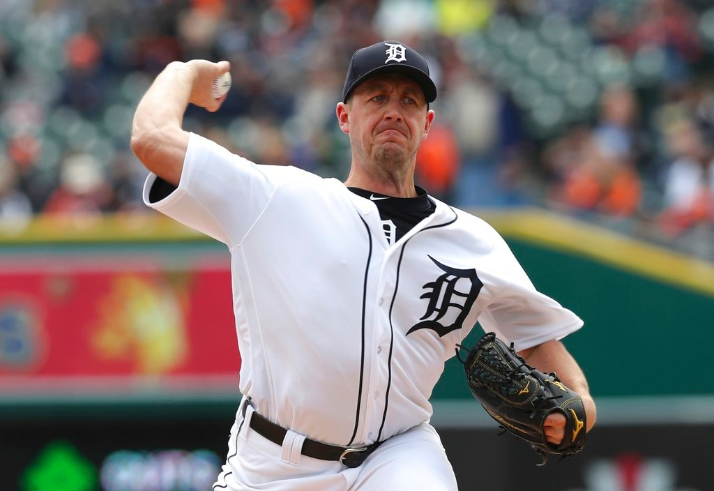 . Detroit Tigers starting pitcher Jordan Zimmermann throws during the first inning of a baseball game against the Pittsburgh Pirates, Friday, March 30, 2018, in Detroit. (AP Photo/Carlos Osorio)