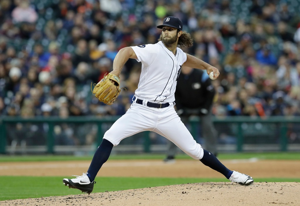 . Detroit Tigers starting pitcher Daniel Norris throws during the third inning of a baseball game against the Texas Rangers, Friday, May 19, 2017, in Detroit. (AP Photo/Carlos Osorio)