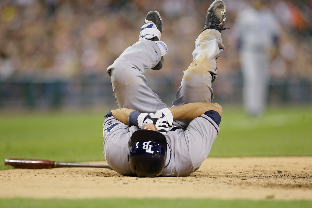 . Tampa Bay Rays\' Steven Souza Jr. reacts after being hit by a pitch during the seventh inning of a baseball game against the Detroit Tigers, Friday, May 20, 2016, in Detroit. (AP Photo/Carlos Osorio)
