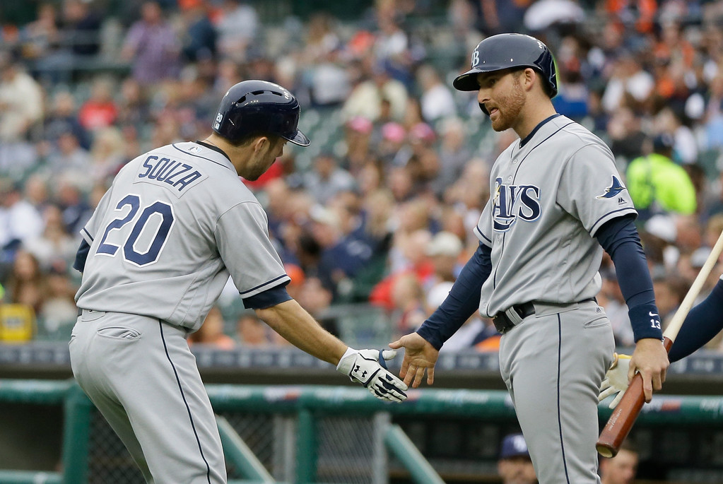 . Tampa Bay Rays\' Brad Miller, right, congratulates teammate Steven Souza Jr. (20) after Souza\'s solo home run off Detroit Tigers starting pitcher Anibal Sanchez during the first inning of a baseball game, Friday, May 20, 2016, in Detroit. (AP Photo/Carlos Osorio)