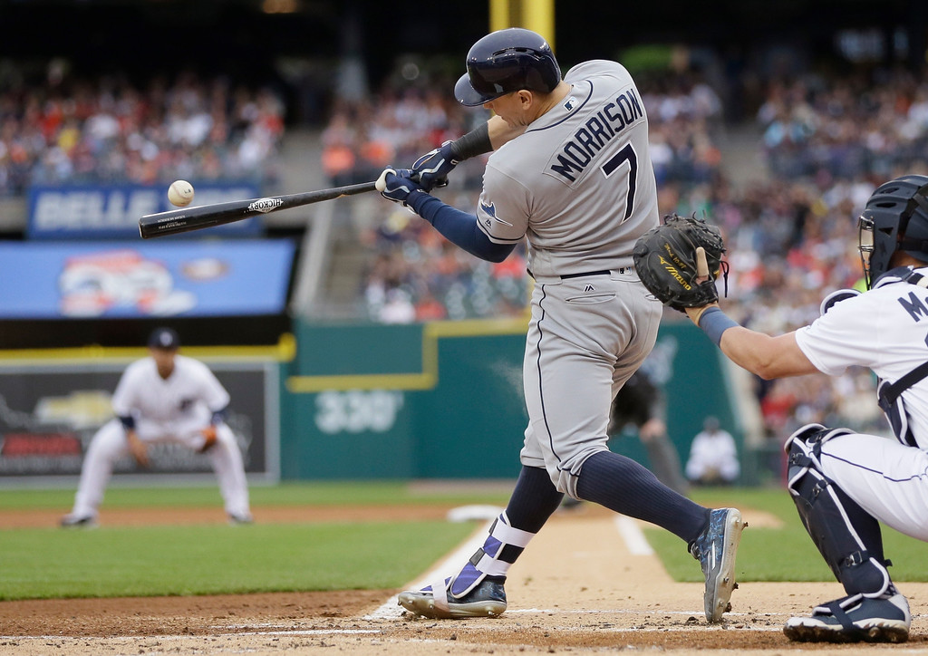 . Tampa Bay Rays\' Logan Morrison connects for a run scoring single during the first inning of a baseball game against the Detroit Tigers, Friday, May 20, 2016, in Detroit. (AP Photo/Carlos Osorio)