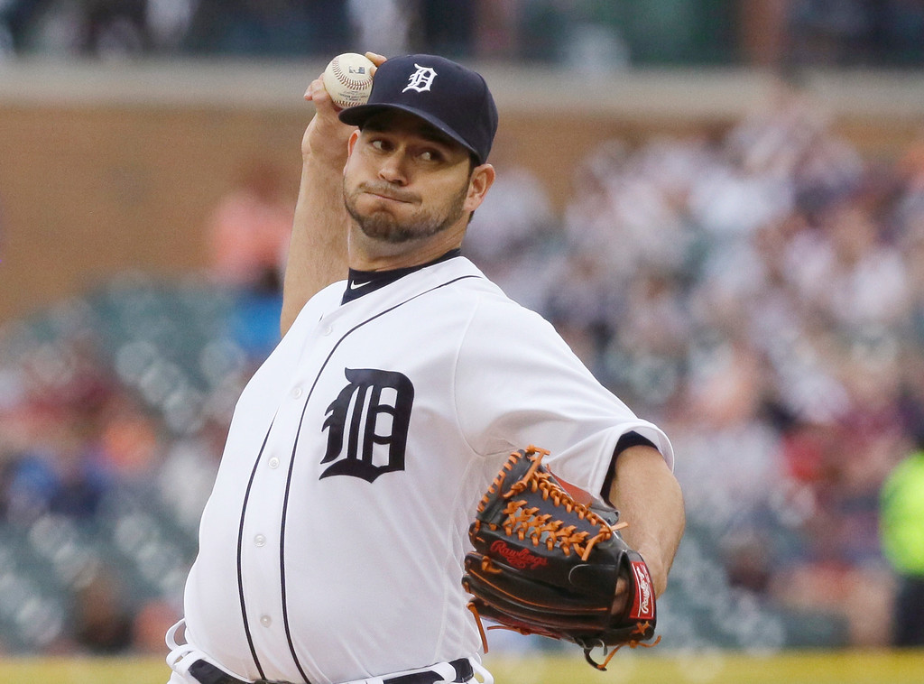 . Detroit Tigers starting pitcher Anibal Sanchez throws during the first inning of a baseball game against the Tampa Bay Rays, Friday, May 20, 2016, in Detroit. (AP Photo/Carlos Osorio)
