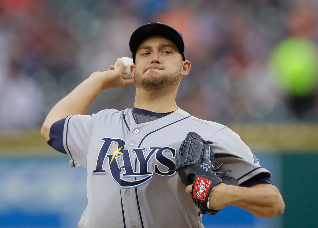 . Tampa Bay Rays pitcher Matt Andriese throws during the first inning of a baseball game against the Detroit Tigers, Friday, May 20, 2016, in Detroit. (AP Photo/Carlos Osorio)