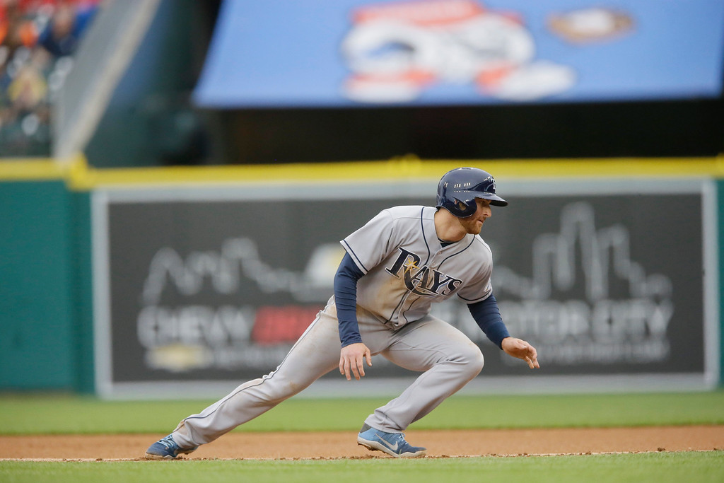 . Tampa Bay Rays\' Brad Miller jumps back to first during the first inning of a baseball game against the Detroit Tigers, Friday, May 20, 2016, in Detroit. (AP Photo/Carlos Osorio)