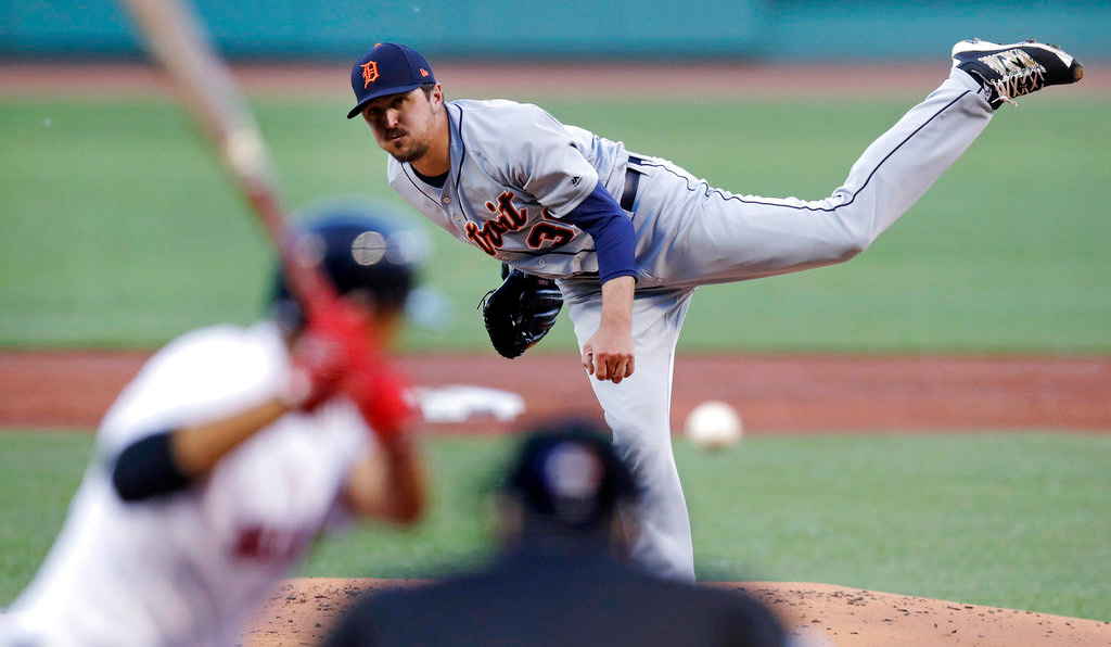 . Detroit Tigers starting pitcher Blaine Hardy delivers during the first inning of a baseball game against the Boston Red Sox at Fenway Park in Boston, Wednesday, June 6, 2018. (AP Photo/Charles Krupa)