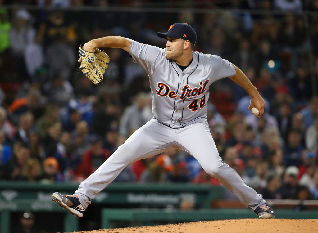 . Detroit Tigers starting pitcher Matthew Boyd delivers to the Boston Red Sox in a baseball game at Fenway Park, Thursday, June 7, 2018, in Boston. (AP Photo/Elise Amendola)