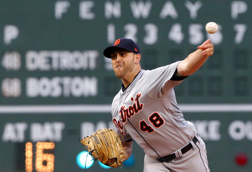 . Detroit Tigers starting pitcher Matthew Boyd delivers to the Boston Red Sox in the first inning of a baseball game at Fenway Park, Thursday, June 7, 2018, in Boston. (AP Photo/Elise Amendola)
