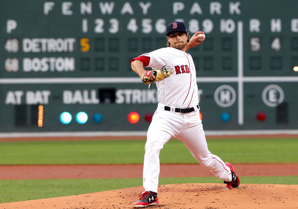 . Boston Red Sox starting pitcher Jalen Beeks delivers to a Detroit Tigers batter during the first inning of a baseball game at Fenway Park, Thursday, June 7, 2018, in Boston. (AP Photo/Elise Amendola)