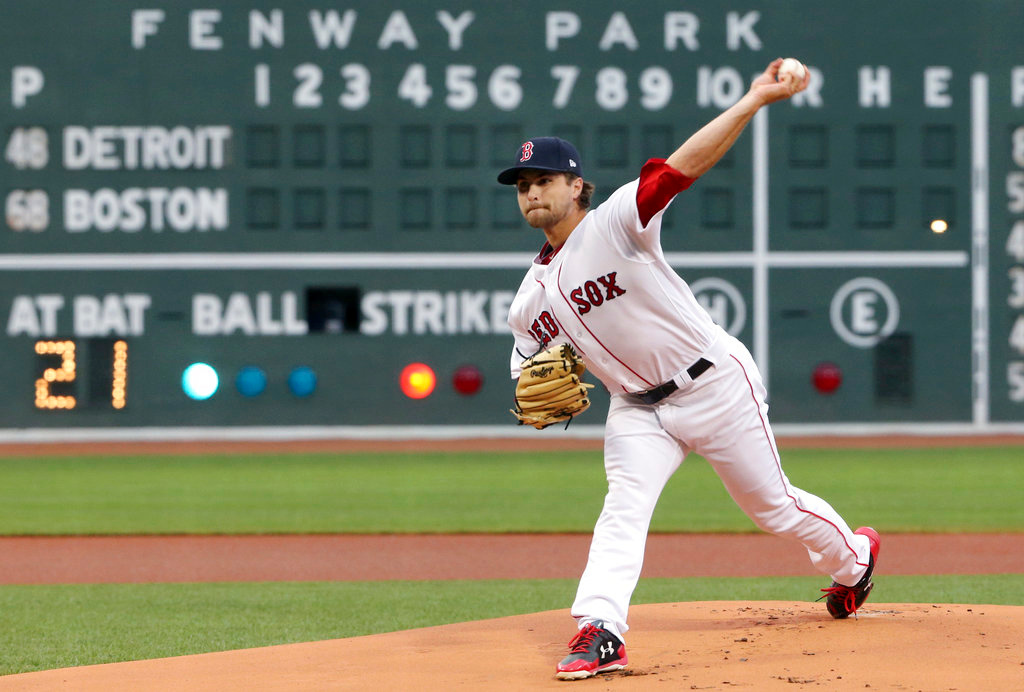 . Boston Red Sox starting pitcher Jalen Beeks delivers to the Detroit Tigers in the first inning of a baseball game at Fenway Park, Thursday, June 7, 2018, in Boston. (AP Photo/Elise Amendola)