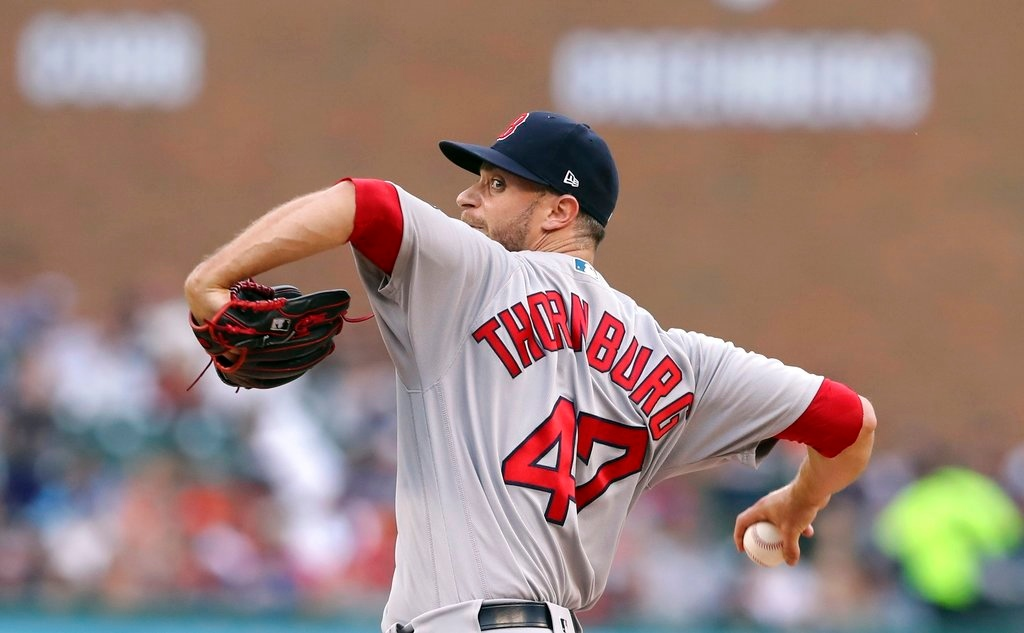 . Boston Red Sox relief pitcher Tyler Thornburg throws during the sixth inning of a baseball game against the Detroit Tigers, Saturday, July 21, 2018, in Detroit. (AP Photo/Carlos Osorio)