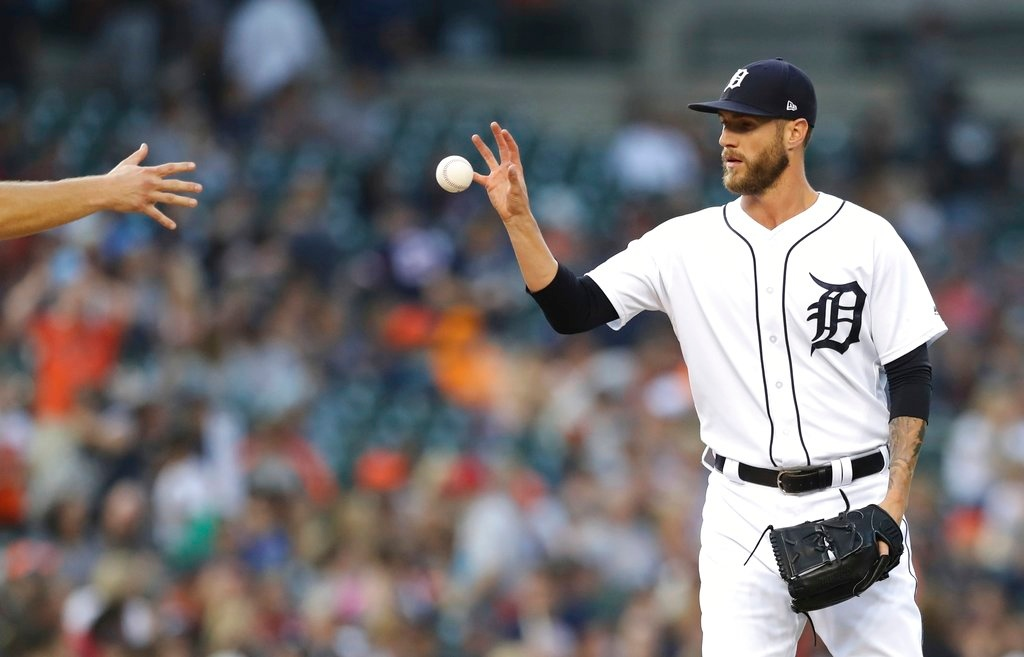 . Detroit Tigers relief pitcher Shane Greene receives the ball during the ninth inning of a baseball game against the Boston Red Sox, Saturday, July 21, 2018, in Detroit. (AP Photo/Carlos Osorio)