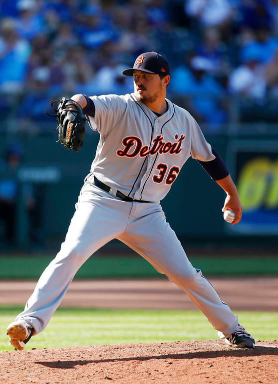 . Detroit Tigers relief pitcher Blaine Hardy throws to a Kansas City Royals batter during the sixth inning of a baseball game at Kauffman Stadium in Kansas City, Mo., Saturday, May 5, 2018. (AP Photo/Colin E. Braley)
