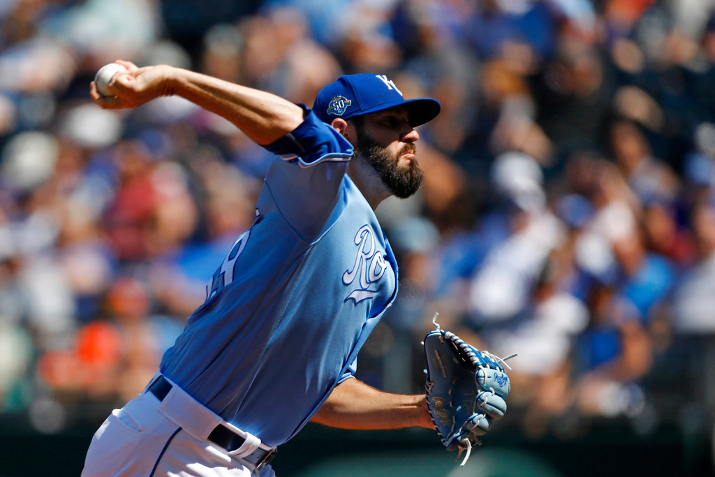 . Kansas City Royals pitcher Jason Hammel throws against a Detroit Tigers batter in the first inning of a baseball game at Kauffman Stadium in Kansas City, Mo., Saturday, May 5, 2018. (AP Photo/Colin E. Braley)