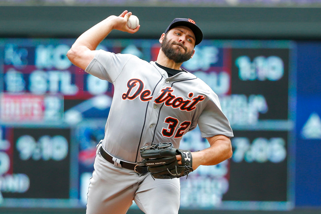 . Detroit Tigers starting pitcher Michael Fulmer throws to the Minnesota Twins in the first inning of a baseball game Wednesday, May 23, 2018, in Minneapolis. (AP Photo/Bruce Kluckhohn)