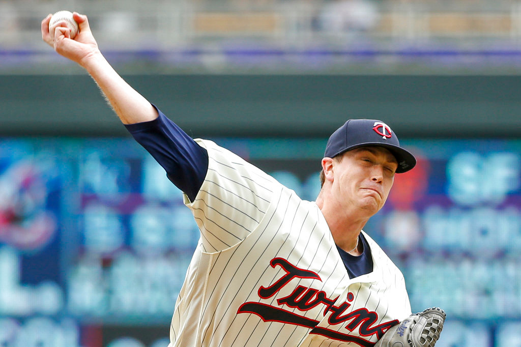 . Minnesota Twins starting pitcher Kyle Gibson throws to the Detroit Tigers in the first inning of a baseball game Wednesday, May 23, 2018, in Minneapolis. (AP Photo/Bruce Kluckhohn)
