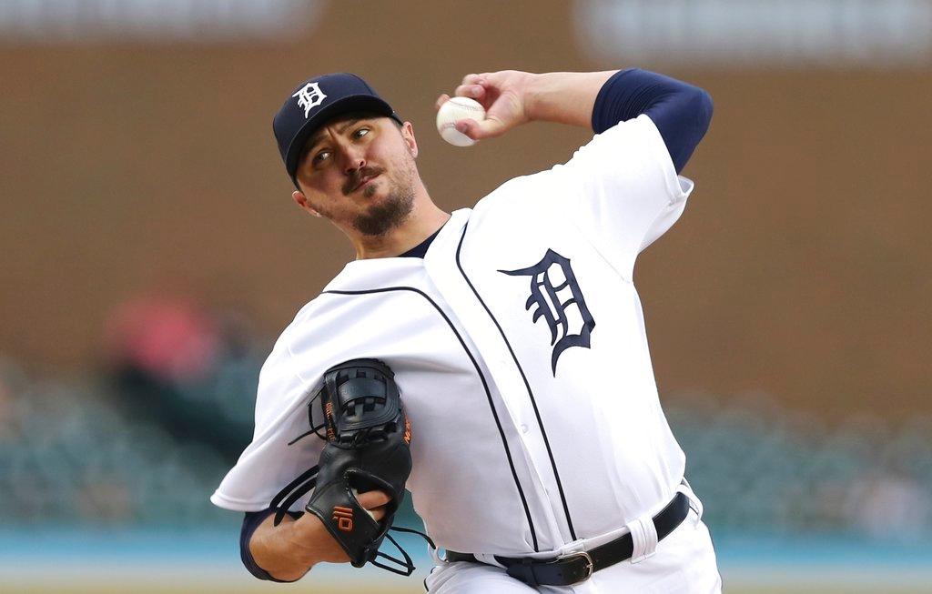 . Detroit Tigers starting pitcher Blaine Hardy throws during the first inning of the team\'s baseball game against the Minnesota Twins, Tuesday, June 12, 2018, in Detroit. (AP Photo/Carlos Osorio)