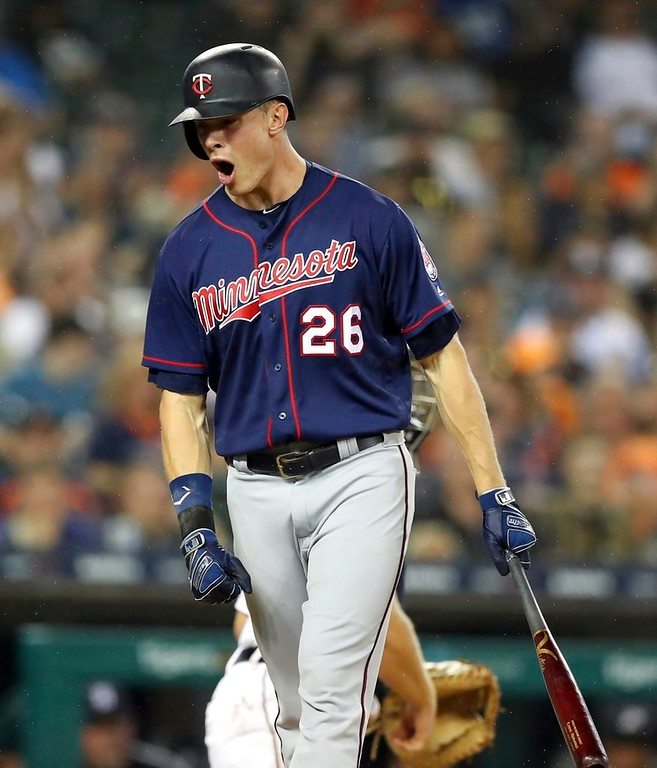 . Minnesota Twins\' Max Kepler reacts after striking out during the seventh inning of a baseball game against the Detroit Tigers, Tuesday, June 12, 2018, in Detroit. (AP Photo/Carlos Osorio)