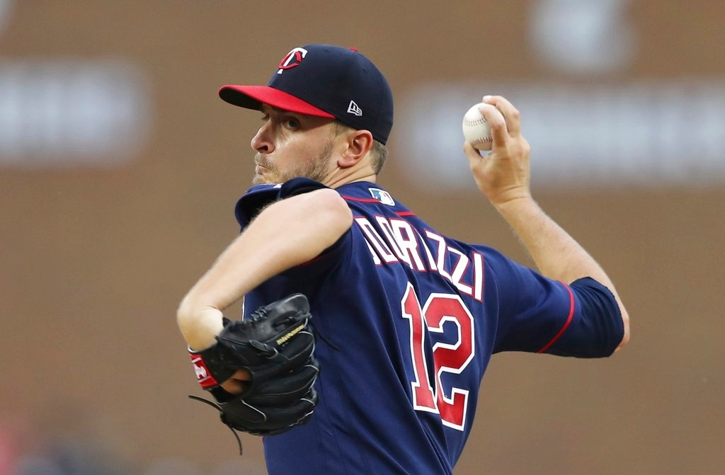 . Minnesota Twins starting pitcher Jake Odorizzi throws during the first inning of the team\'s baseball game against the Detroit Tigers, Tuesday, June 12, 2018, in Detroit. (AP Photo/Carlos Osorio)