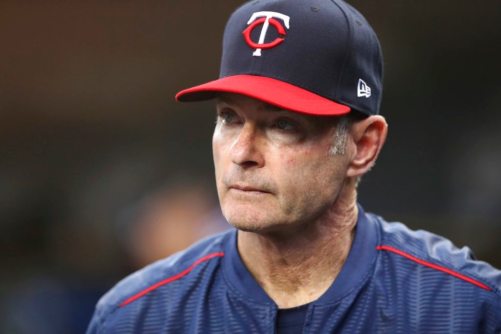 . Minnesota Twins manager Paul Molitor is seen in the dugout during the third inning of a baseball game against the Detroit Tigers, Tuesday, June 12, 2018, in Detroit. (AP Photo/Carlos Osorio)