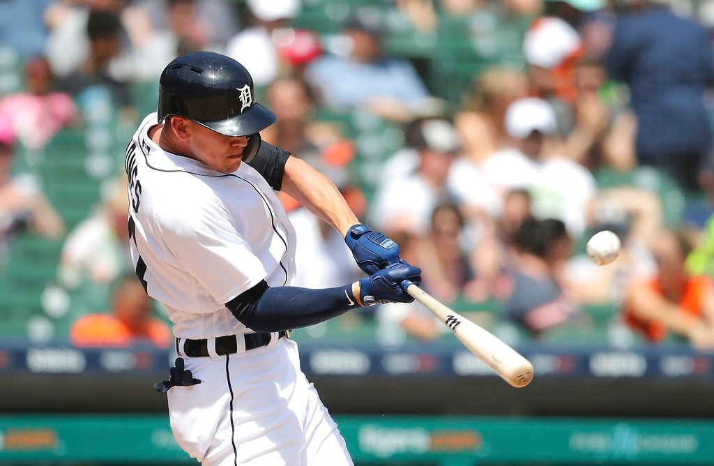 . Detroit Tigers\' JaCoby Jones connects for a two-run home run during the seventh inning of a baseball game against the Minnesota Twins, Thursday, June 14, 2018, in Detroit. (AP Photo/Carlos Osorio)