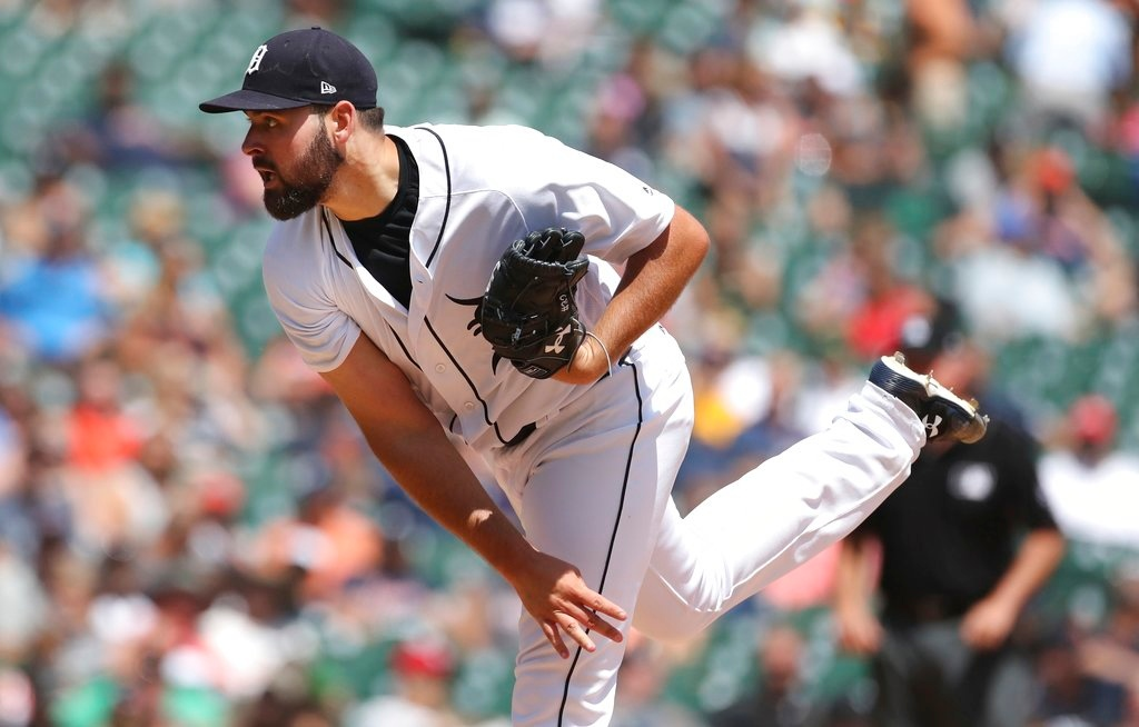 . Detroit Tigers starting pitcher Michael Fulmer throws during the seventh inning of a baseball game against the Minnesota Twins, Thursday, June 14, 2018, in Detroit. (AP Photo/Carlos Osorio)