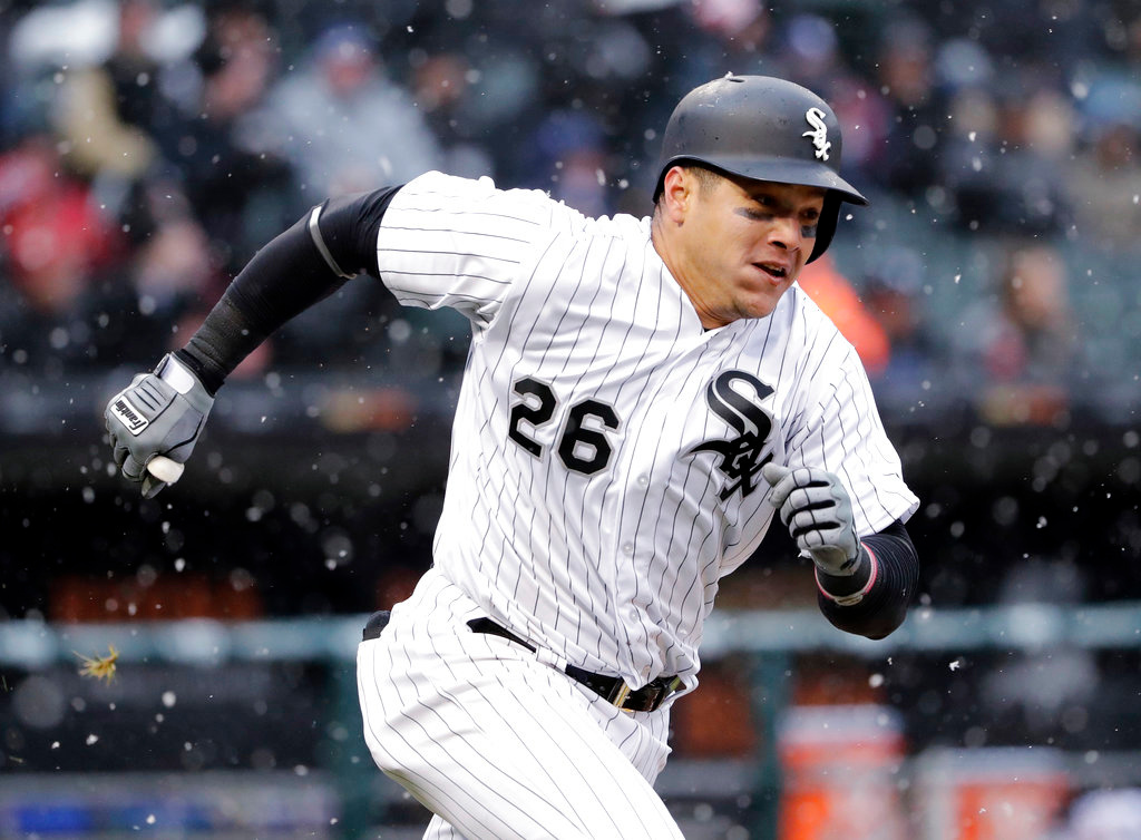 . Chicago White Sox\'s Avisail Garcia runs after hitting a double during the fifth inning of the White Sox home-opener baseball game against the Detroit Tigers, Thursday, April 5, 2018, in Chicago. (AP Photo/Nam Y. Huh)