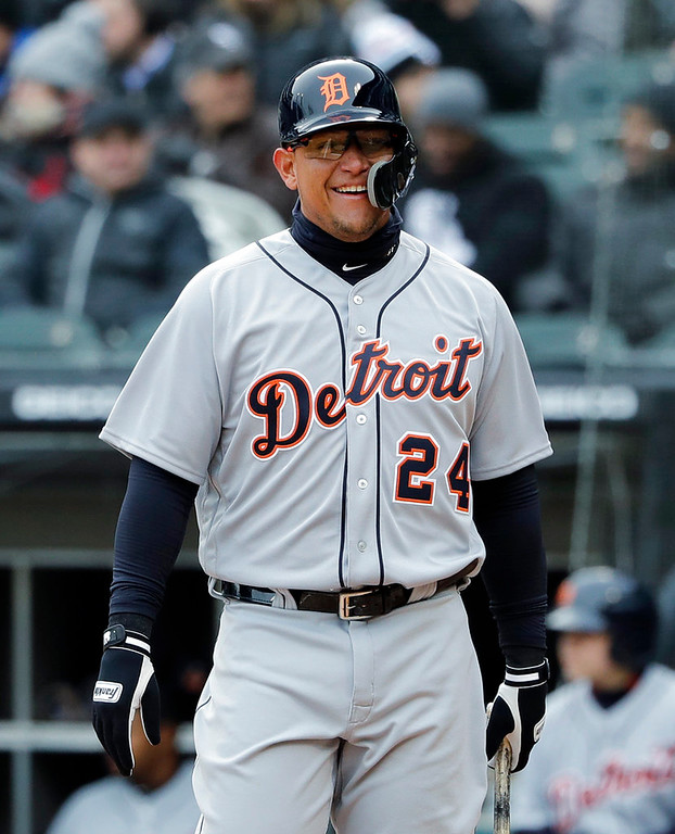 . Detroit Tigers\' Miguel Cabrera smiles after hitting a foul ball against the Chicago White Sox during the first inning of a baseball game Thursday, April 5, 2018, in Chicago. (AP Photo/Nam Y. Huh)