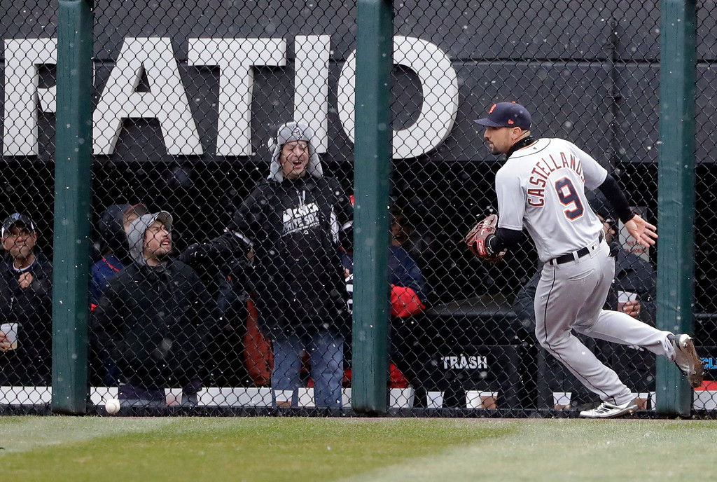 . Detroit Tigers right fielder Nick Castellanos chases a double by the Chicago White Sox during the fifth inning of the White Sox home-opener baseball game Thursday, April 5, 2018, in Chicago. (AP Photo/Nam Y. Huh)