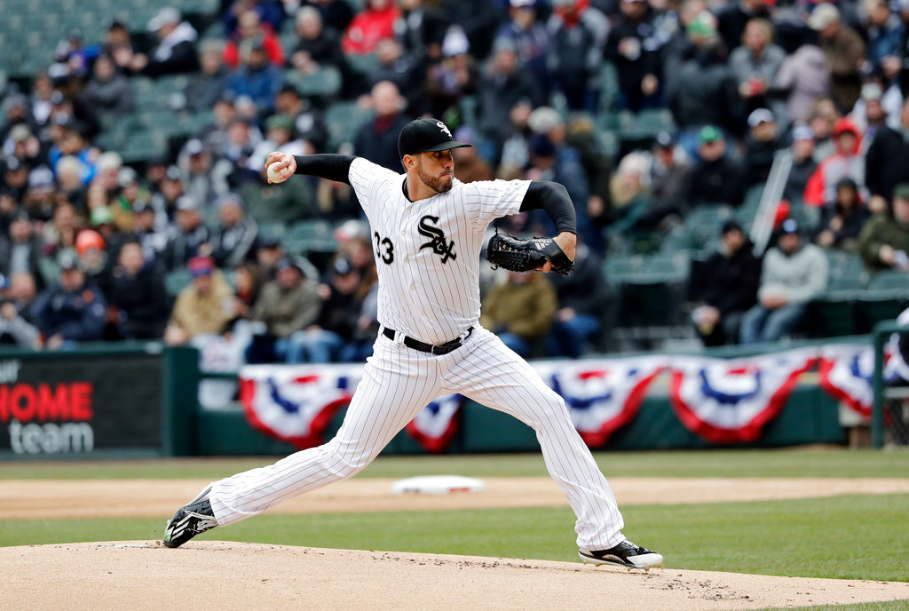 . Chicago White Sox starting pitcher James Shields throws against the Detroit Tigers during the first inning of the Chicago White Sox season home opening baseball game Thursday, April 5, 2018, in Chicago. (AP Photo/Nam Y. Huh)
