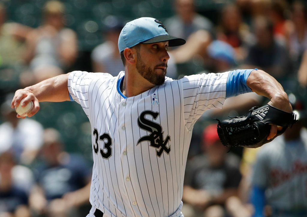 . Chicago White Sox starting pitcher James Shields throws against the Detroit Tigers during the first inning of a baseball game in Chicago, Sunday, June 17, 2018. (AP Photo/Nam Y. Huh)