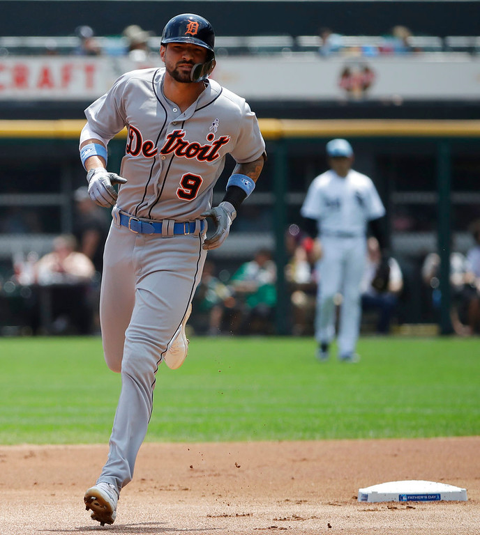 . Detroit Tigers\' Nick Castellanos rounds the bases after hitting a two-run home run against the Chicago White Sox during the first inning of a baseball game in Chicago, Sunday, June 17, 2018. (AP Photo/Nam Y. Huh)