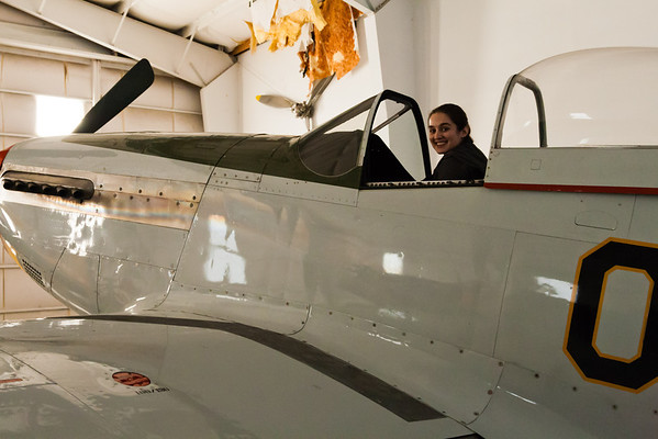 Felicity in the cockpit of a P-51 Mustang